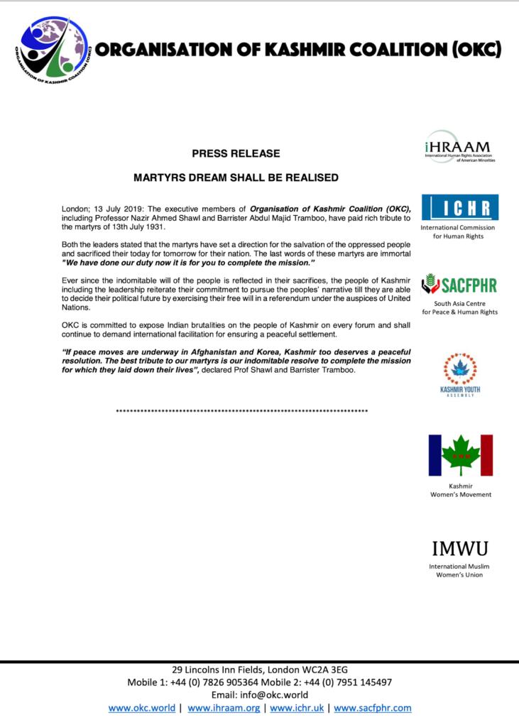 Press Release 13 July 2019