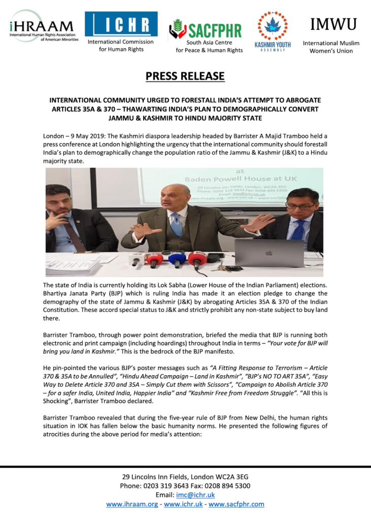 Press Release 09 May 2019