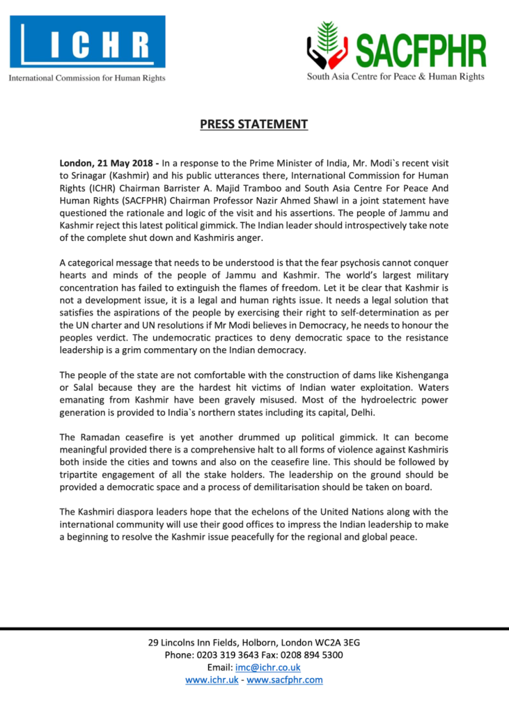 Press Release 21 May 2018