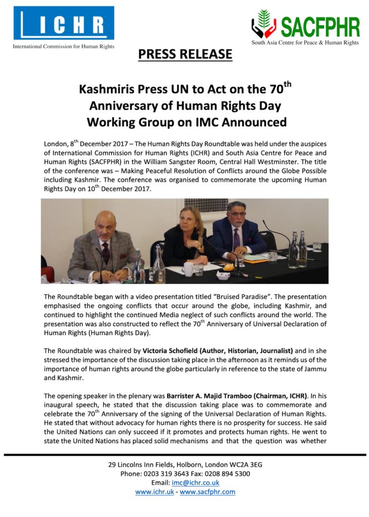 Press Release 08 December 2017