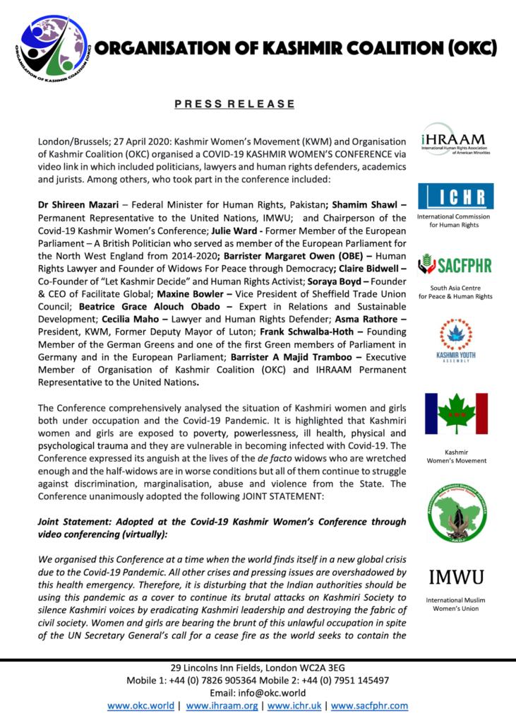 Press Release 27 April 2020