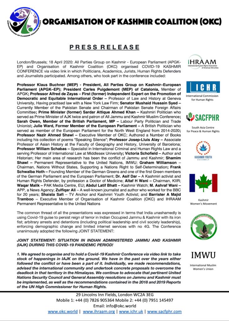 Press Release 17 April 2020