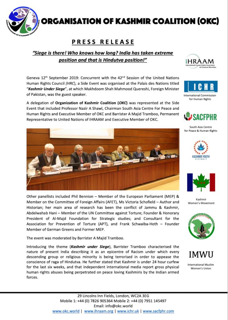 Press Release 12 September 2019