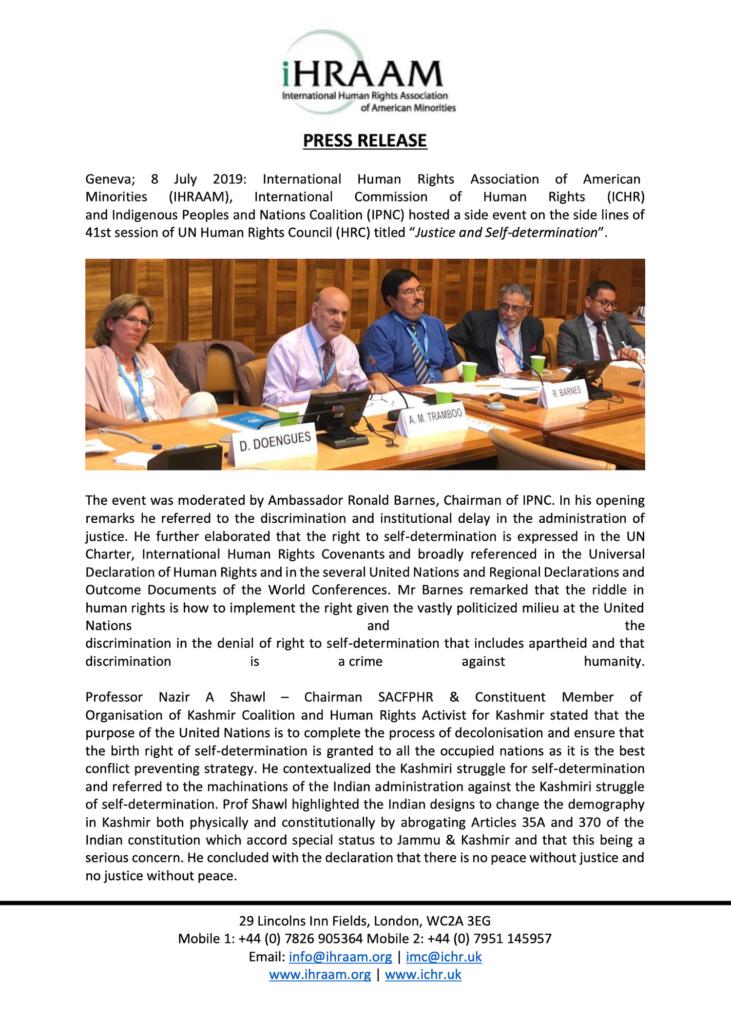 Press Release 08 July 2019