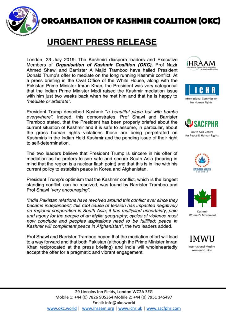 Press Release 23 July 2019