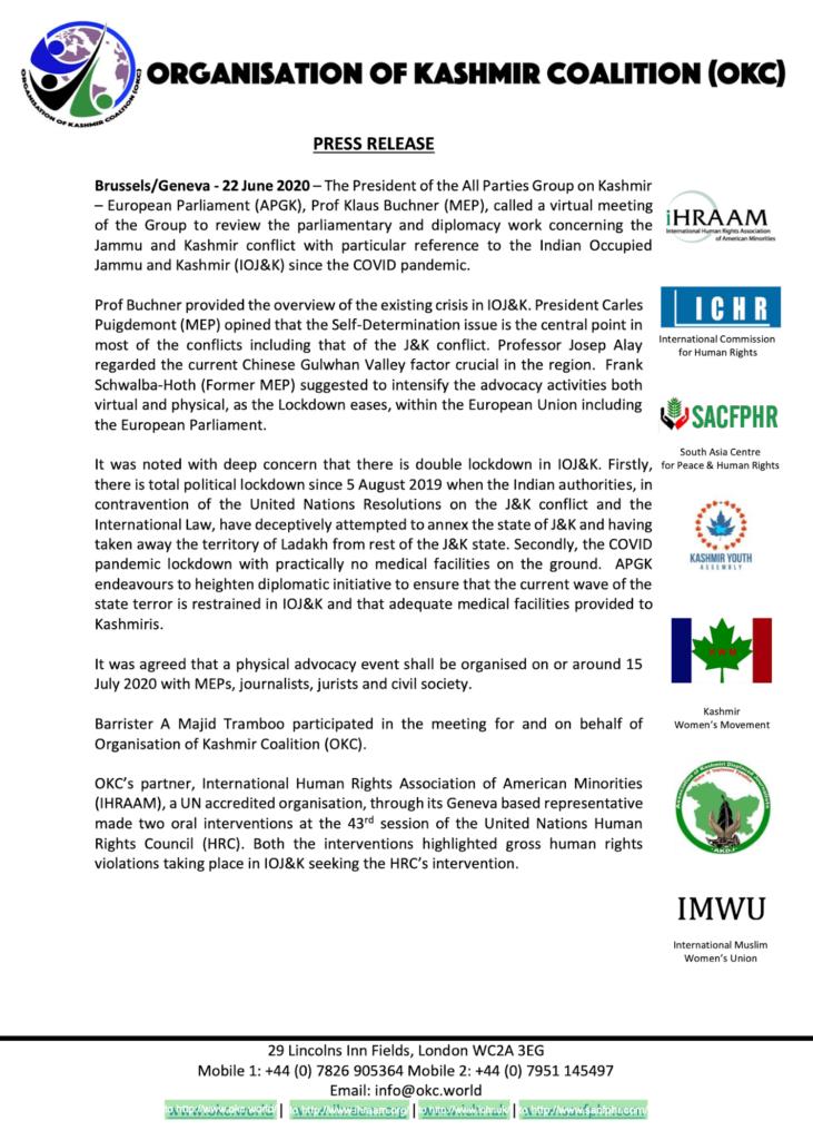 Press Release 22 June 2020