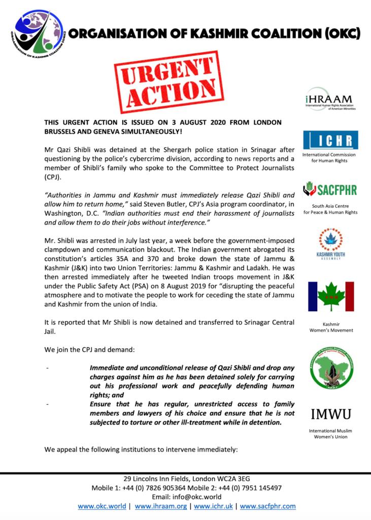 URGENT ACTION! 3 August 2020